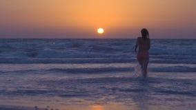 A menina 'sexy' feliz está correndo ao por do sol na praia no mar A jovem mulher no biquini cor-de-rosa corre no oceano calmo, sa video estoque