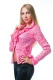 Menina 'sexy' na blusa cor-de-rosa Fotos de Stock