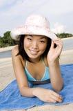 Menina 'sexy' na praia fotos de stock royalty free