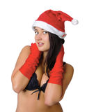 Menina 'sexy' na roupa interior preta e em um chapéu do Natal Fotos de Stock
