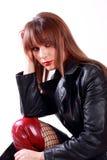 Menina 'sexy' no revestimento de couro Fotografia de Stock