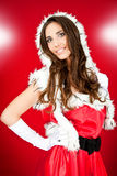 Menina 'sexy' no traje de Santa Fotografia de Stock Royalty Free