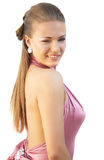 Menina 'sexy' no vestido cor-de-rosa Imagem de Stock Royalty Free