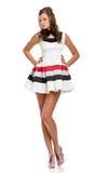 Menina 'sexy' no vestido curto branco Imagem de Stock Royalty Free