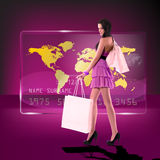 Menina shoping feliz Fotos de Stock Royalty Free