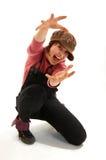Menina Shouting em um tampão Foto de Stock