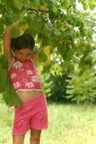 Menina sob a árvore fotografia de stock royalty free