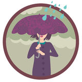 Menina sob a chuva Foto de Stock Royalty Free