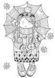 Menina sob o guarda-chuva na garatuja tirada mão do inverno Ilustração Stock