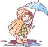 Menina sob um guarda-chuva ilustração stock