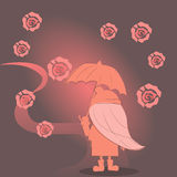 A menina sob um guarda-chuva vai ao longo do trajeto Fotografia de Stock Royalty Free