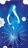 Menina sobre o fundo do inverno ilustração royalty free