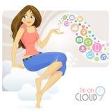 Menina social dos meios que senta-se na nuvem que gesticula sobre atividades sociais ilustração royalty free