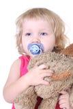 Menina sonolento com brinquedo Imagem de Stock Royalty Free