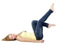 Menina Sportive que faz exercícios Imagens de Stock