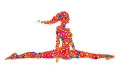 A menina streching da ioga isolou a silhueta com as flores coloridas dos círculos imagens de stock royalty free