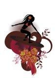 Menina-surfista ilustração do vetor
