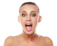 Menina surpreendida com boca aberta Foto de Stock Royalty Free
