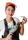 Menina surpreendida com ferramentas Foto de Stock Royalty Free