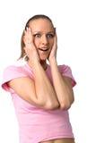 Menina surpreendida feliz Fotografia de Stock