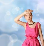 Menina surpreendida na cor-de-rosa Fotos de Stock Royalty Free