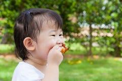 A menina (tailandesa) asiática pequena do close up aprecia comer seu almoço Foto de Stock