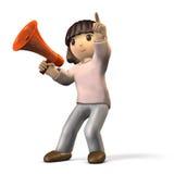 A menina tem o microfone de mão Aponta a algo Imagens de Stock