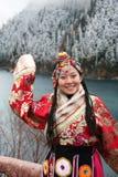 Menina tibetana na roupa tradicional Foto de Stock Royalty Free