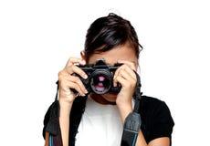 A menina toma uma foto Fotos de Stock Royalty Free