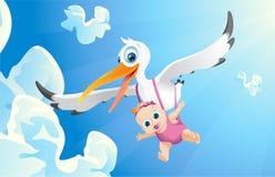 Menina transportada por via aérea ilustração do vetor