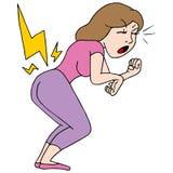 Menina traseira de dor Imagem de Stock