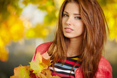 Menina triguenha e folhas douradas Imagens de Stock