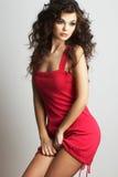 Menina triguenha no vestido vermelho fotografia de stock