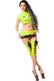 Menina triguenha quente que desgasta a roupa verde Fotos de Stock Royalty Free