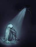 Menina triste ilustração do vetor