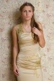 Menina triste bonita no vestido Fotos de Stock