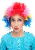 Menina triste com peruca do partido imagens de stock royalty free