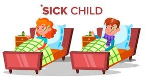 A menina triste doente da criança, menino encontra-se com o termômetro no vetor da boca Ilustração isolada dos desenhos animados ilustração do vetor
