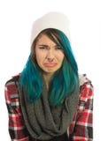 Menina triste e infeliz que olha em linha reta na câmera Fotos de Stock Royalty Free
