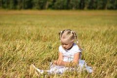 A menina triste romântica no vestido branco senta-se na grama no campo, olha para baixo nas mãos, guarda a grama foto de stock royalty free