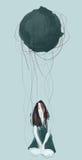 Menina triste sob uma rocha gigante Imagem de Stock Royalty Free