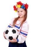 Menina ucraniana com esfera de futebol Fotografia de Stock