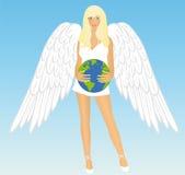 A menina um anjo com terra Fotografia de Stock