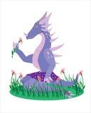 A menina um dinossauro. ilustração do vetor