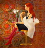 Menina um vinho tinto Fotografia de Stock Royalty Free
