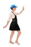 A menina vai em um fundo branco Imagem de Stock