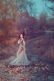 Menina vermelha do cabelo no outono Fotos de Stock Royalty Free