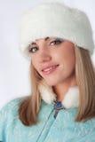 Menina vestida como o russo Papai Noel Foto de Stock Royalty Free