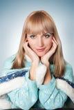 Menina vestida como o russo Papai Noel Fotos de Stock Royalty Free