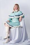 Menina vestida como o russo Papai Noel Fotos de Stock